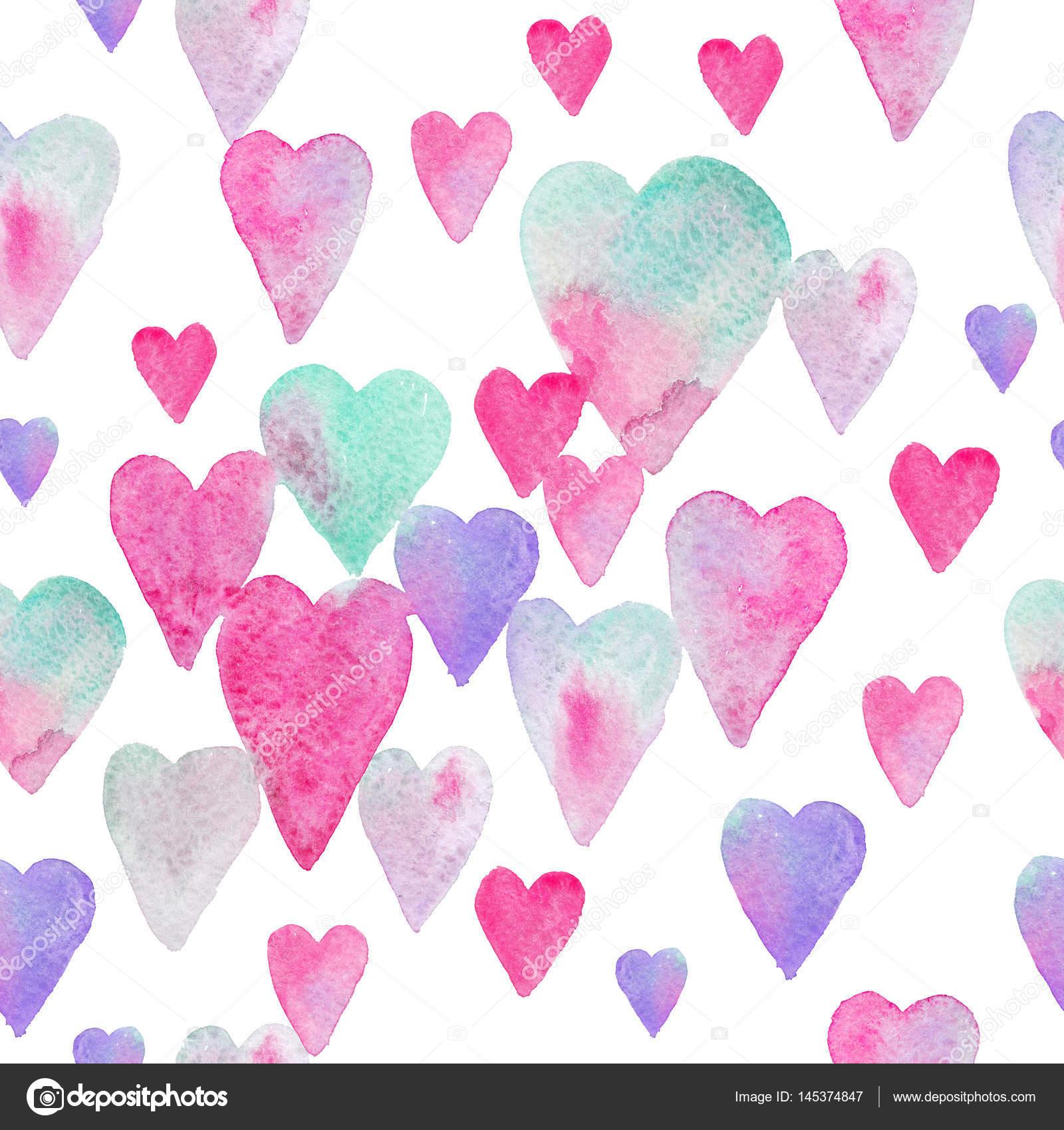 72b51a959e42 Vzor bezešvé akvarel s barevné srdce - růžové