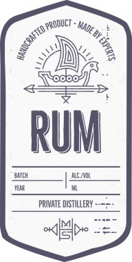 Vintage alcohol drink label design with ethnic elements in thin line style.