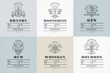 Set of vintage alcohol label design with ethnic elements in thin line style