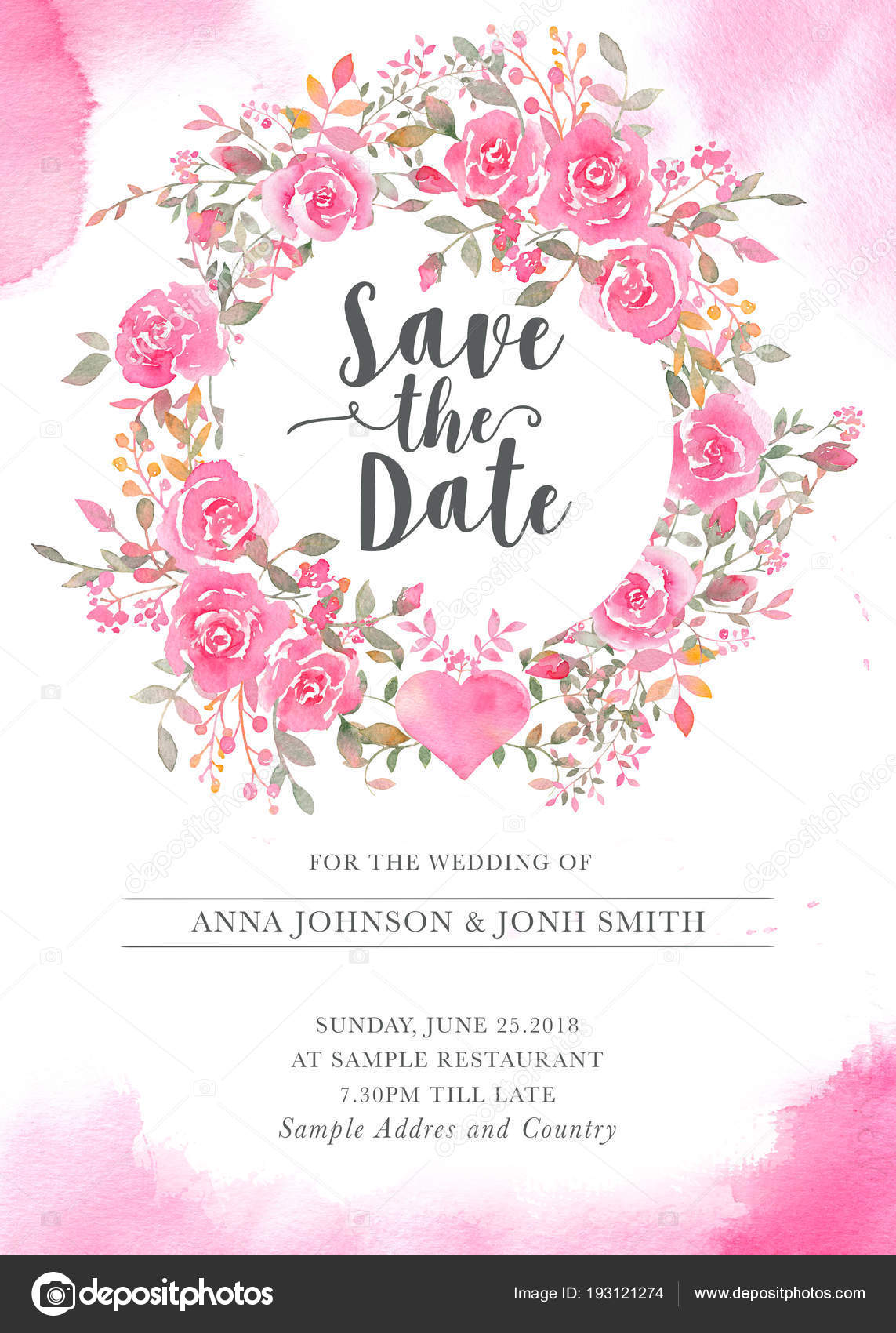 Wedding invitation card template with watercolor rose flowers wedding invitation card template with watercolor rose flowers stock photo stopboris Images