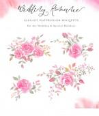 Ručně malované akvarel ujednání s květy růže, růžových poupat