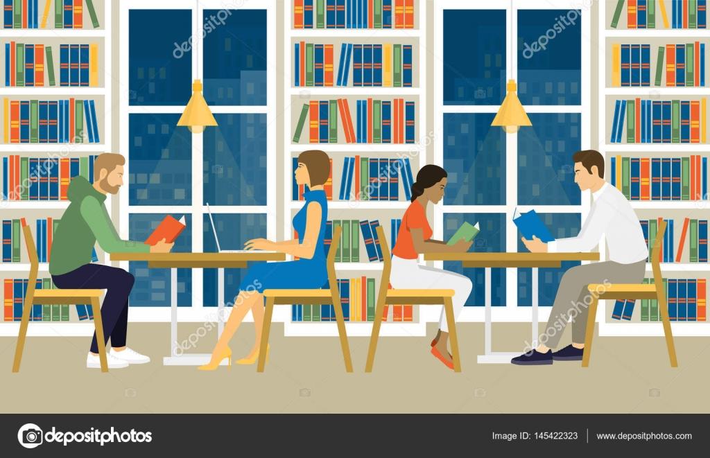 Frauen und Männer sitzen in der Bibliothek — Stockvektor © moremar ...