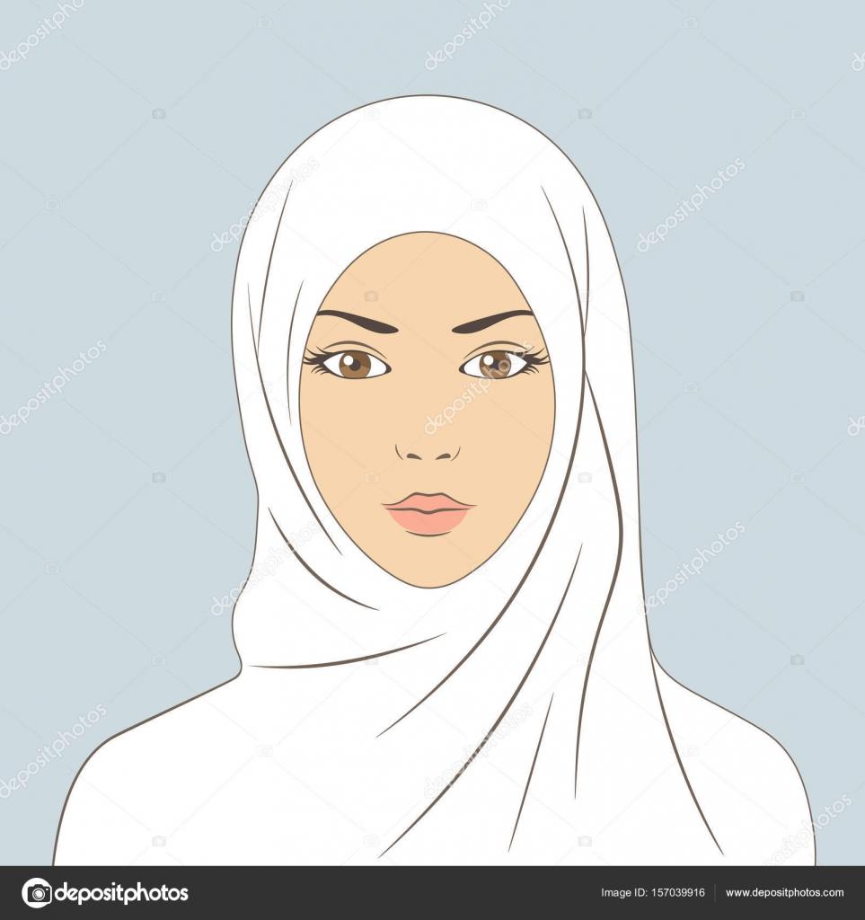 the face of an arab girl muslim woman in hijab linear