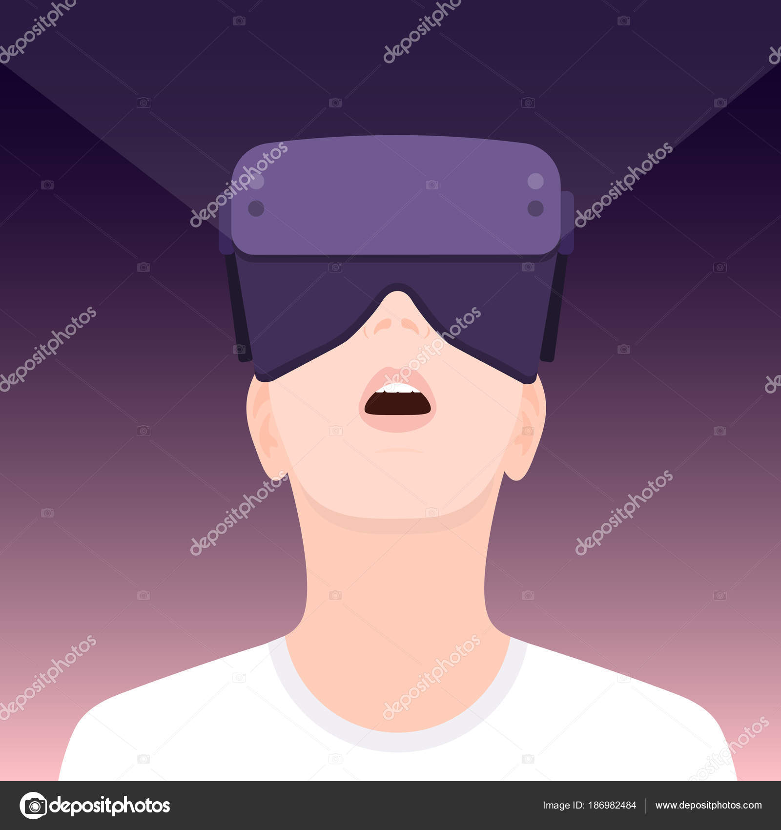 World Teenager Wearing Virtual Reality Glasses Amazed Face Vector
