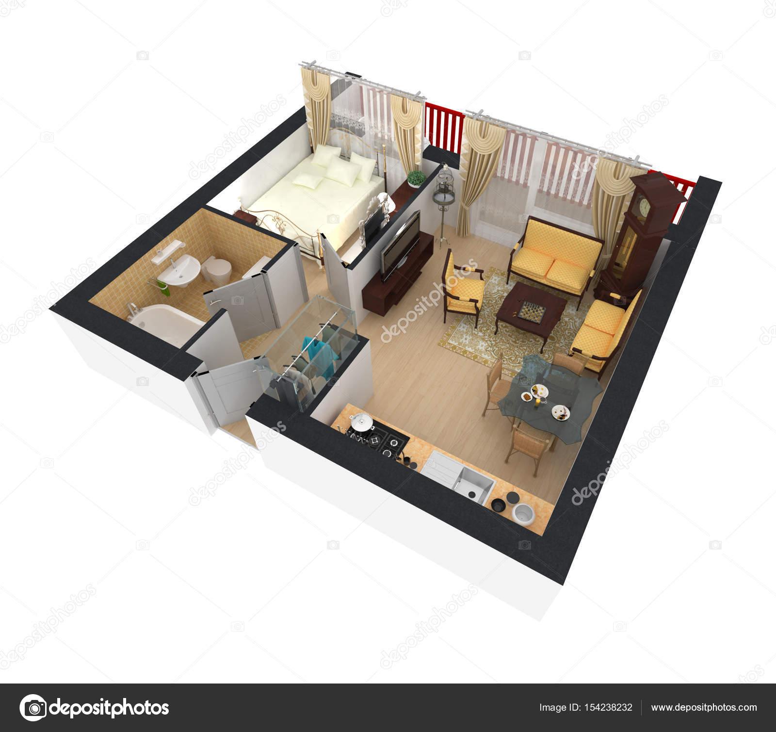 3D Rendering Möblierten Haus Wohnung Mit Wohnzimmer, Küche, Bad,  Kulinarisches Rom U2014 Foto Von Artjafara