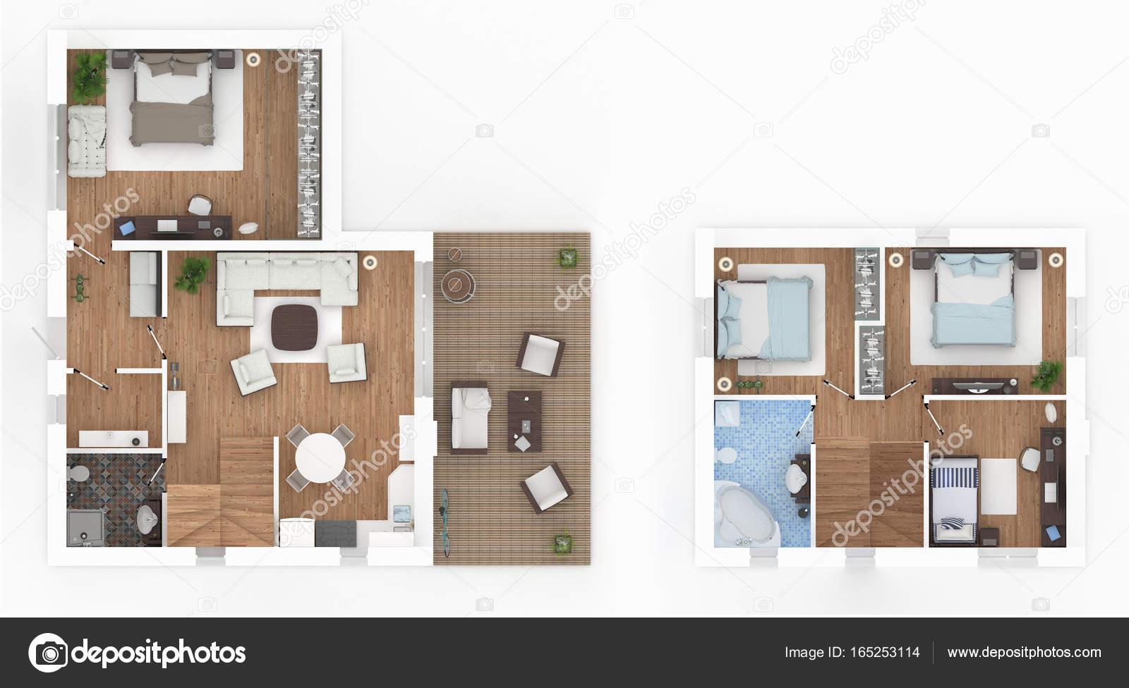1 Und 2 Stock Eingerichtete Haus Wohnung Loft U2014 Stockfoto