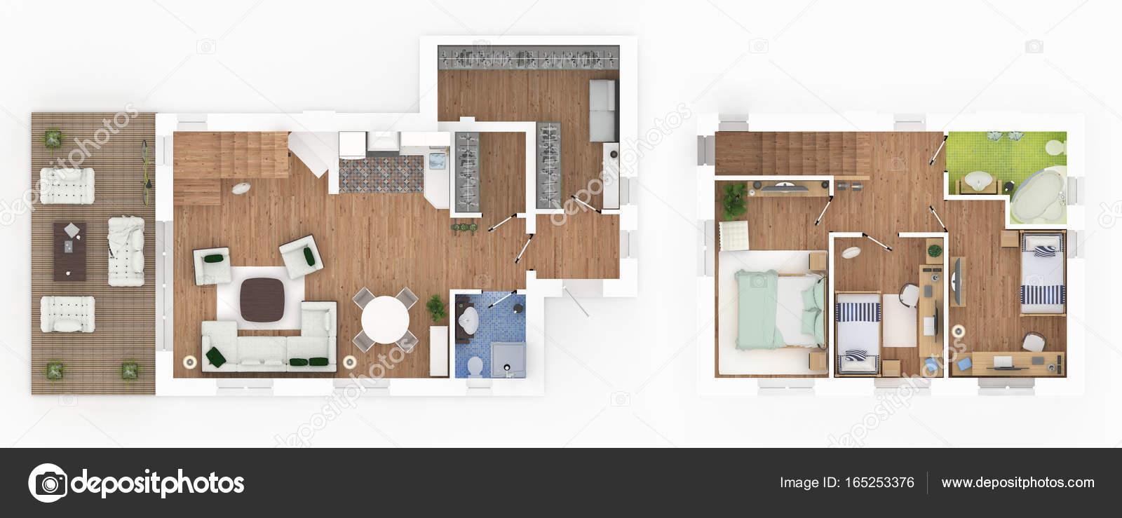Perfect 1 Und 2 Stock Eingerichtete Haus Wohnung Loft U2014 Stockfoto