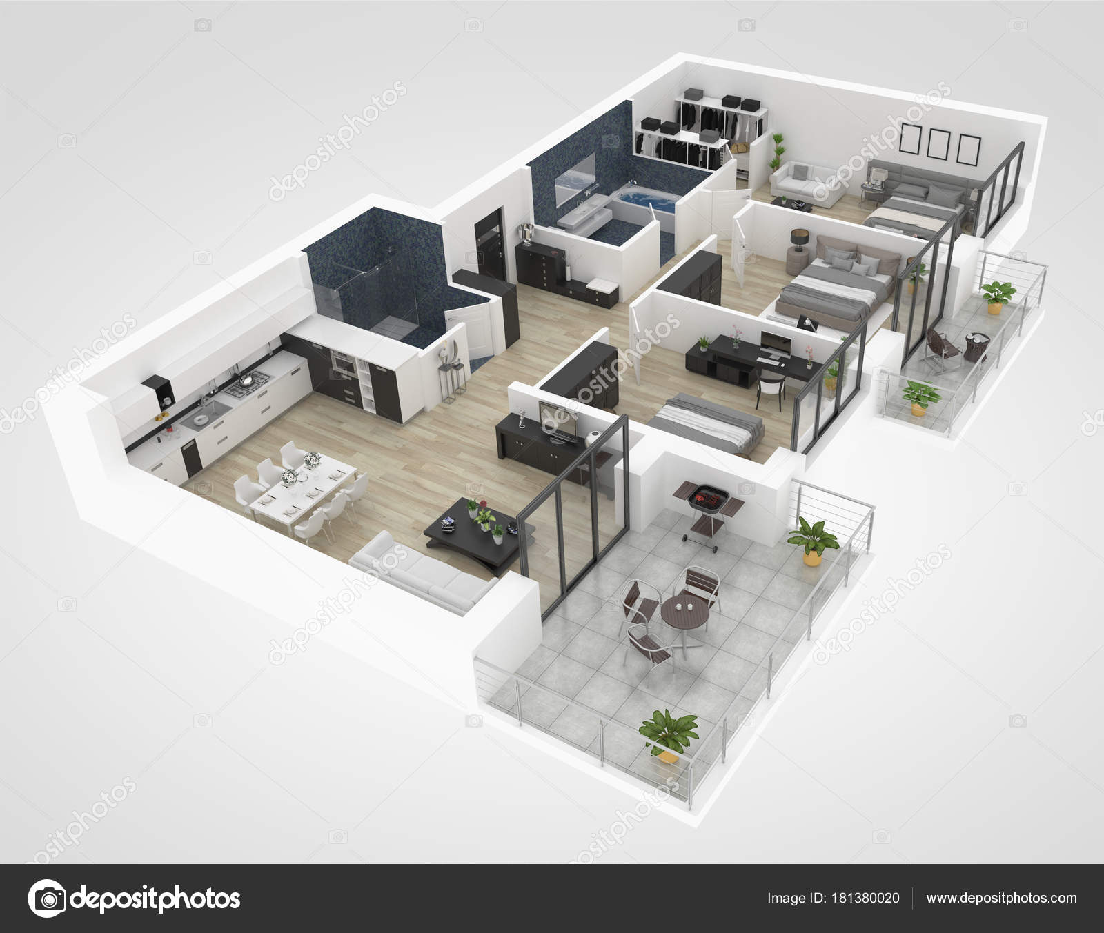 Floor Plan House Top View Illustration Open Concept Living