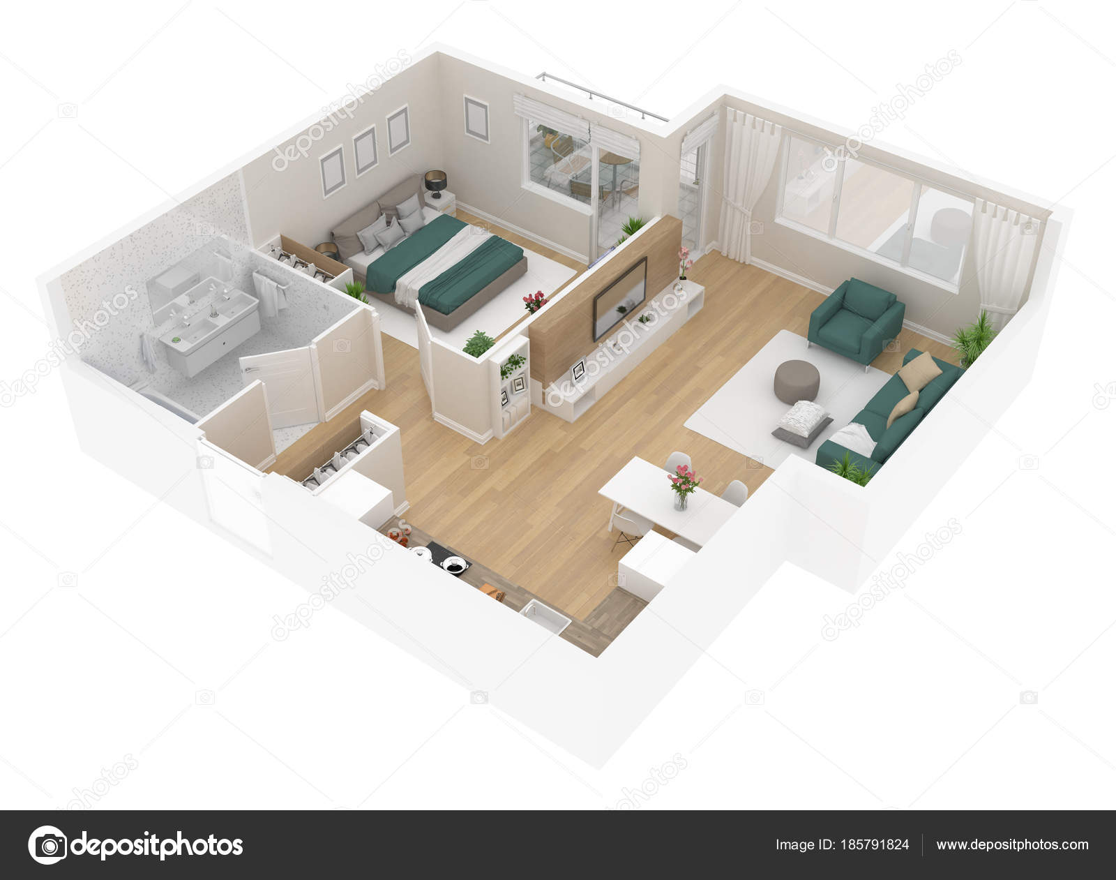 Bovenaanzicht Van Plattegrond Appartement Interieur Geïsoleerd Een ...