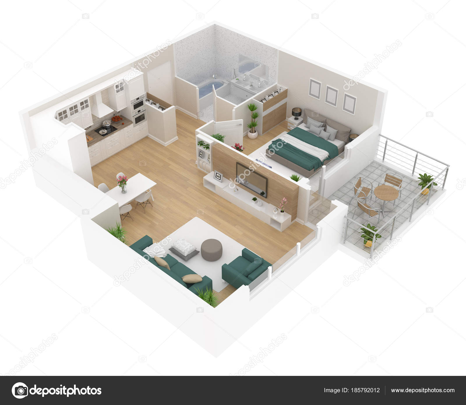 Floor Plan Top View Apartment Interior Isolated White Background