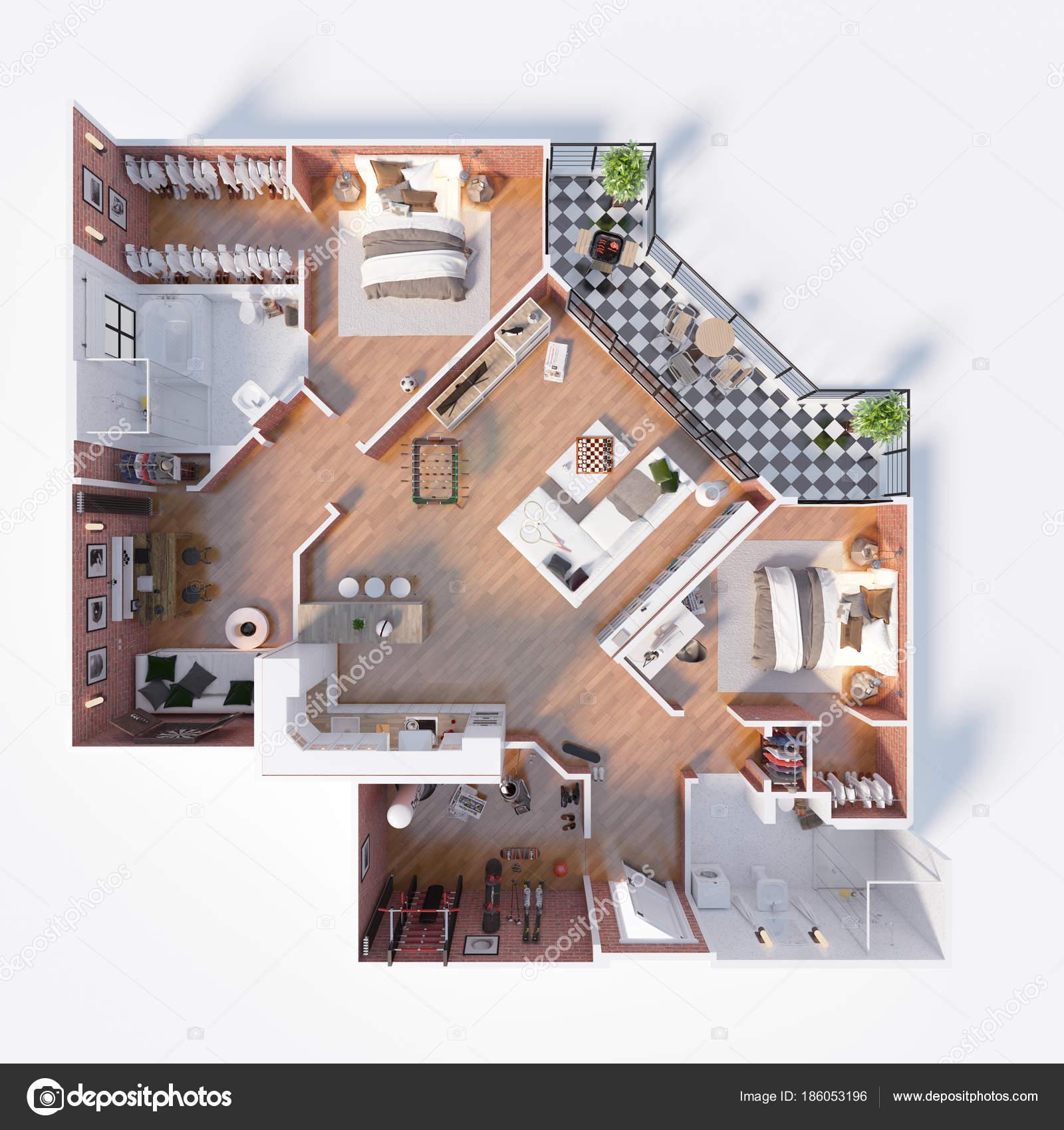 Planimetria illustrazione casa vista dall alto concetto for Aprire i piani casa artigiano concetto
