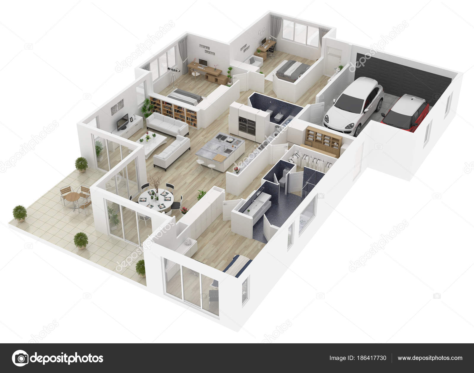 Grundriss Einem Haus Draufsicht 3d Illustration. Offenes Konzept Leben Haus  Layout U2014 Foto Von Artjafara