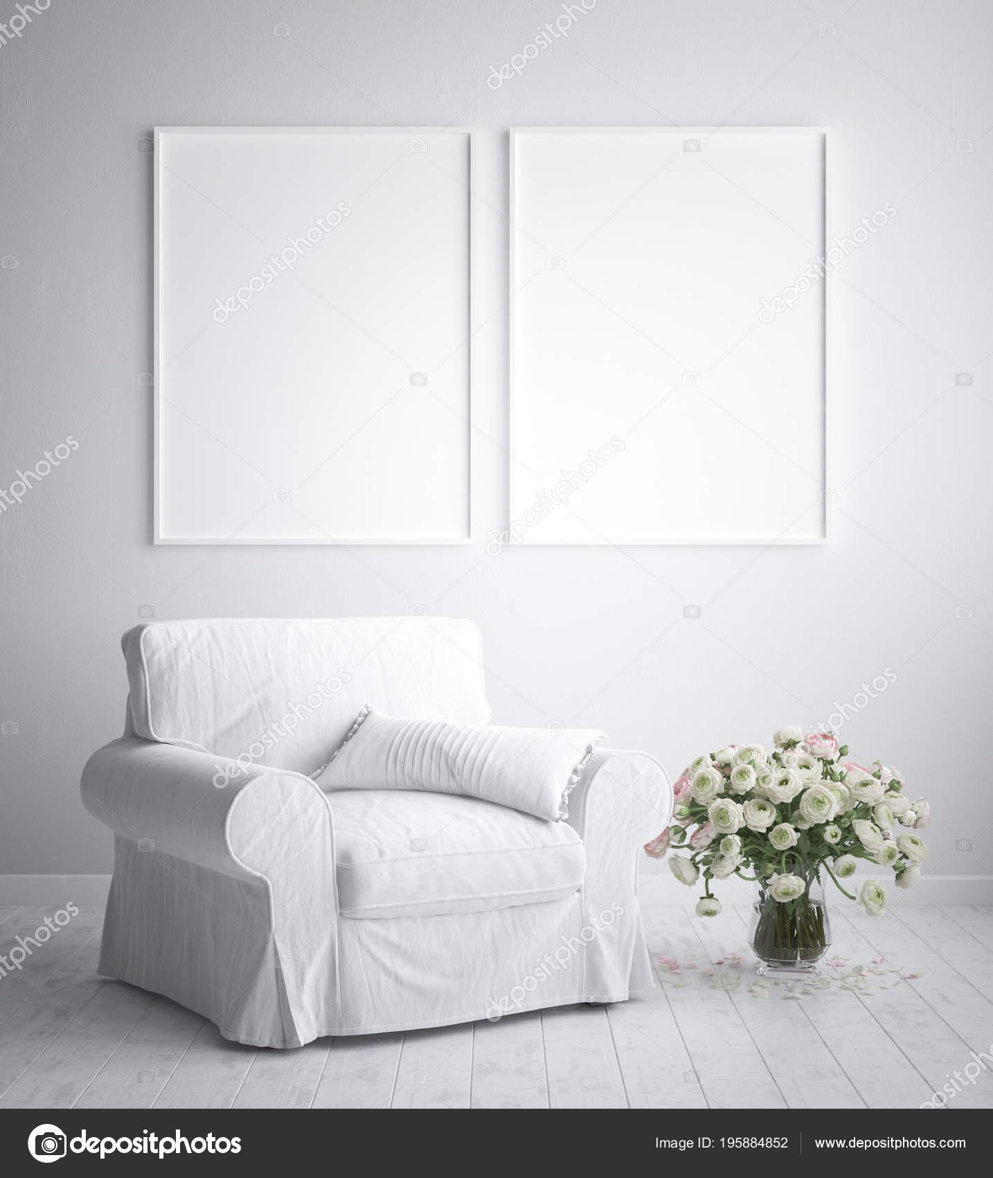 maquette affiche cadre fond intérieur style scandinave rendu