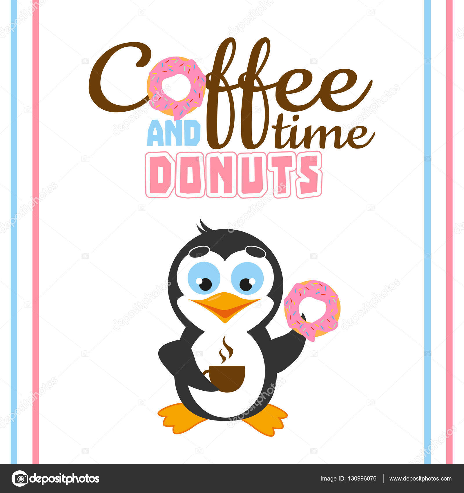 cute postcard with funny cartoon penguin and coffee time and