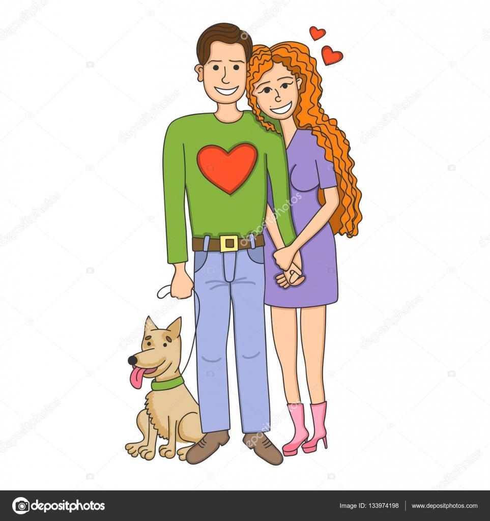 かわいい犬との愛の人々 のカップル。男と女は愛し合っています。幸せな