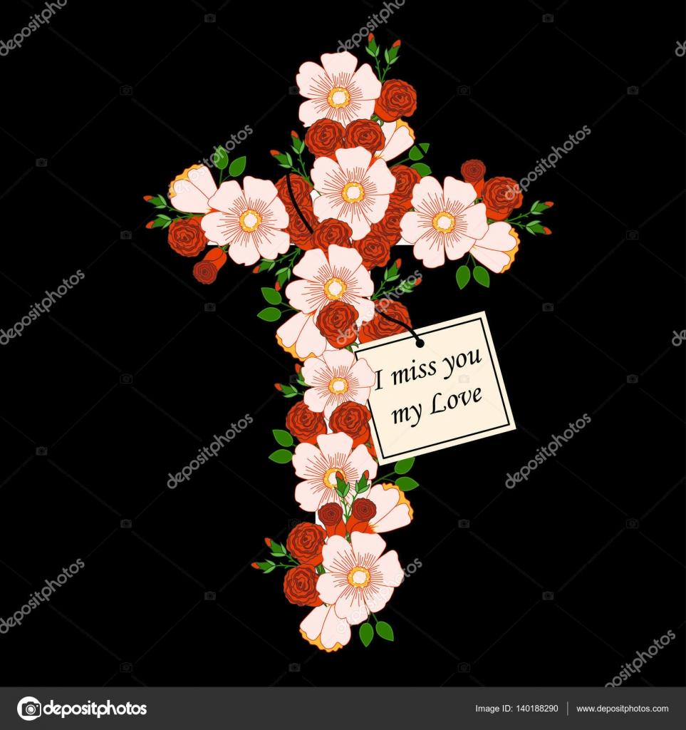 Cruz religiosa decorada con flores. Católica corona con la ...