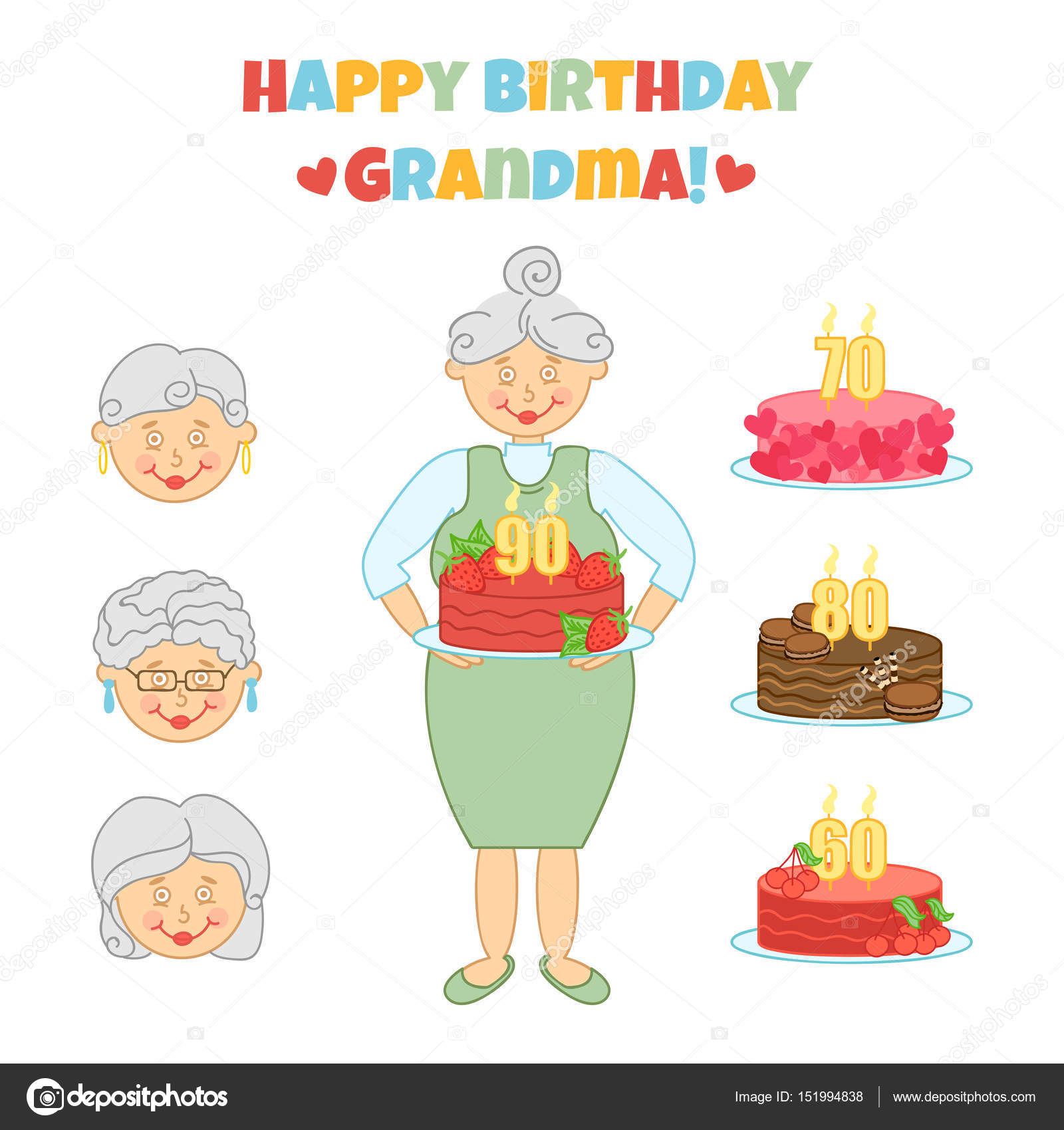 Happy Birthday Grandma Cute Vector Illustration With Grandmother And Cake Congratulation Greeting Card In Different Variations Invitation
