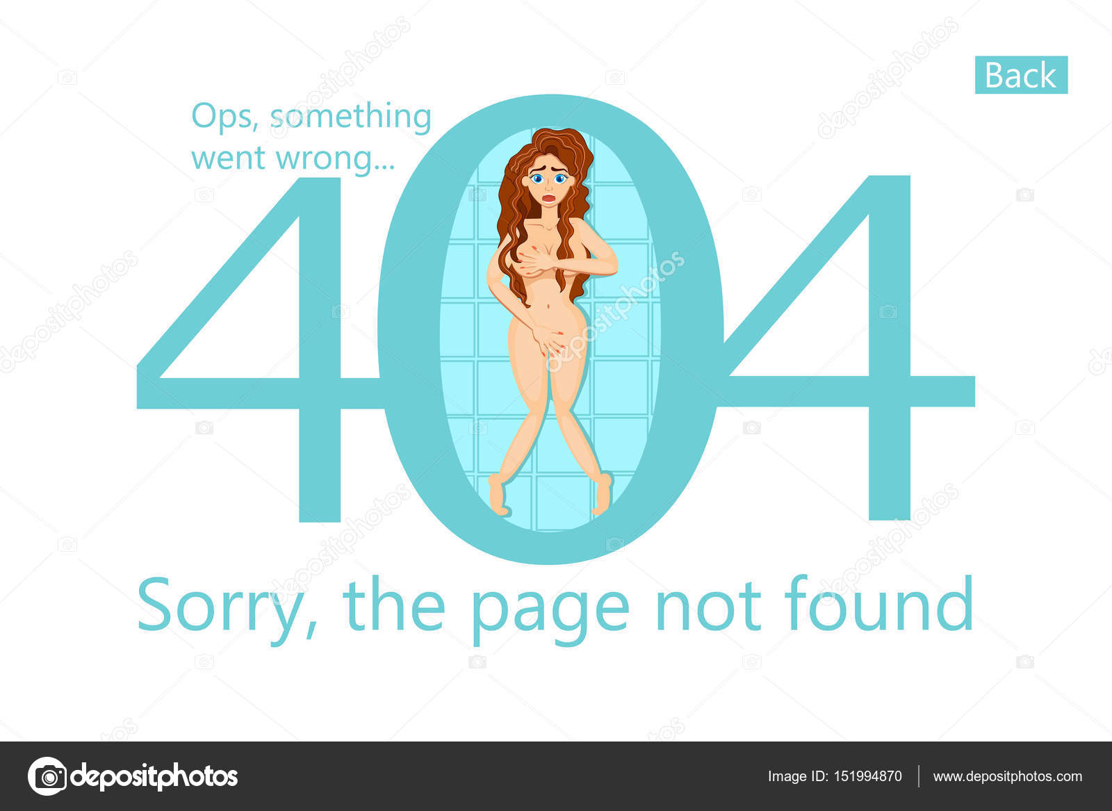 400ee0aa00c5fc Vector template 404 error, page not found. Funny illustration with sexy  girl. Ops