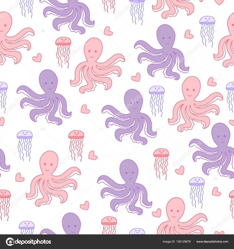 Patrón sin fisuras de mar con pulpo, la medusa y el corazón. Lindo ...