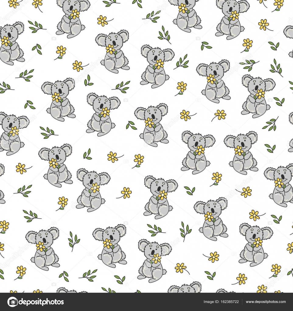 Patrón transparente con flores, lindo koala y hojas. Fondo de vector ...
