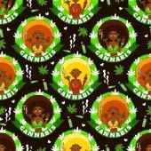 Cannabis-Mädchen. Nahtloses Muster mit afrikanischen amerikanischen Mädchen, Rauch, Feuerzeug, Marijuanna und Herzen. Rastafarianischer Hintergrund.