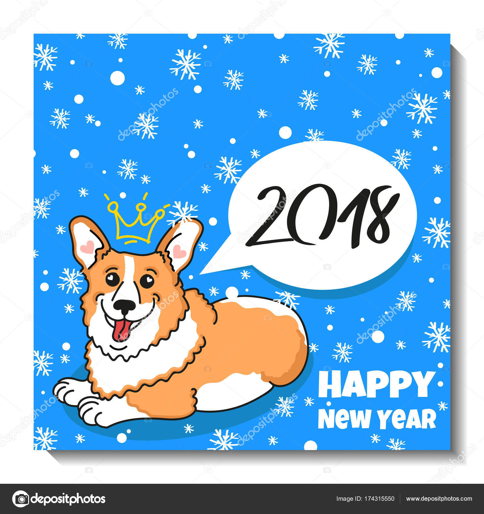 Merry christmas card design holiday postcard with puppy welsh corgi merry christmas card design holiday postcard with puppy welsh corgi pembroke text snow kristyandbryce Image collections