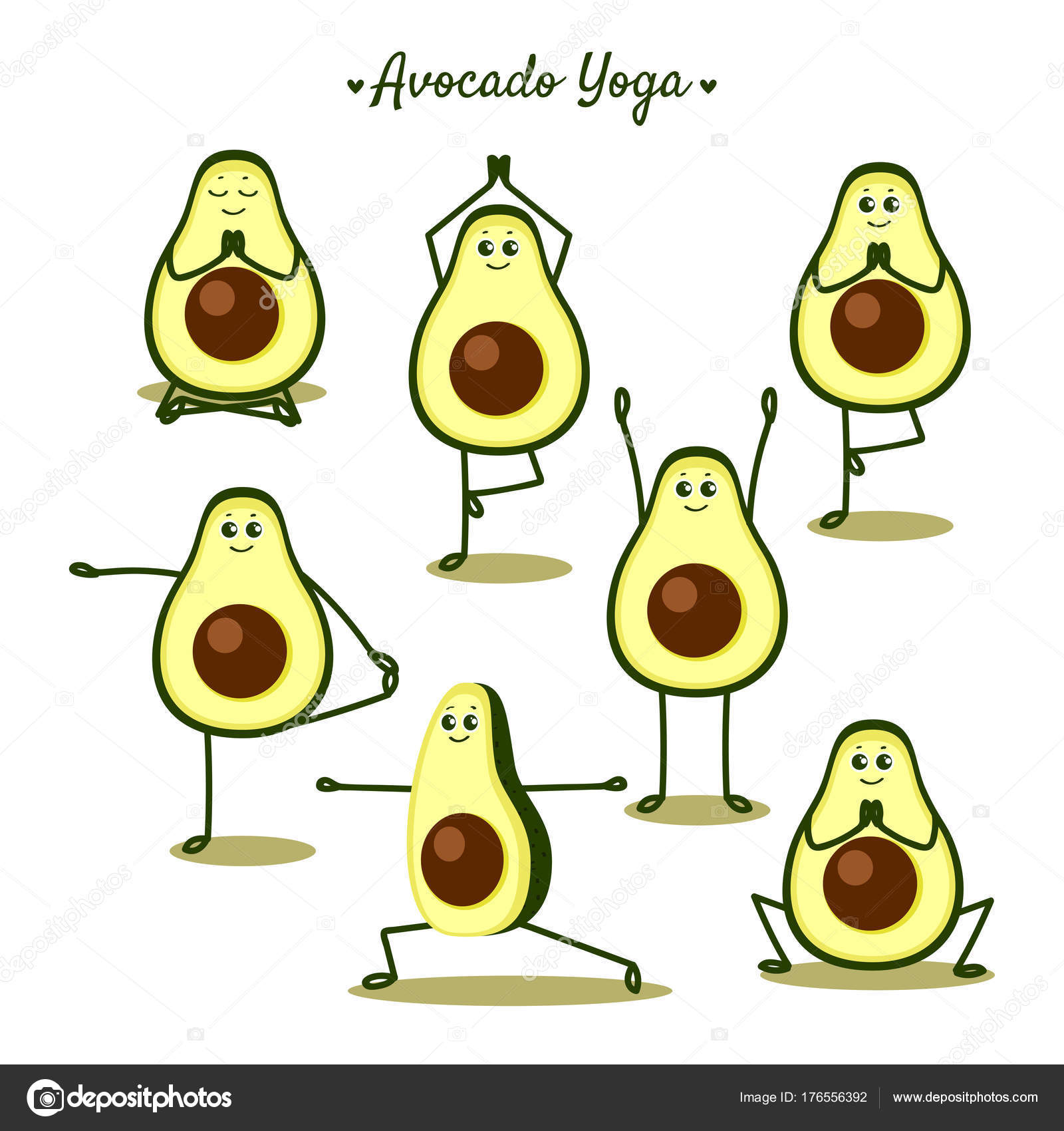 Avocado Yoga Funny Vector Illustration Poses Fruits Stock