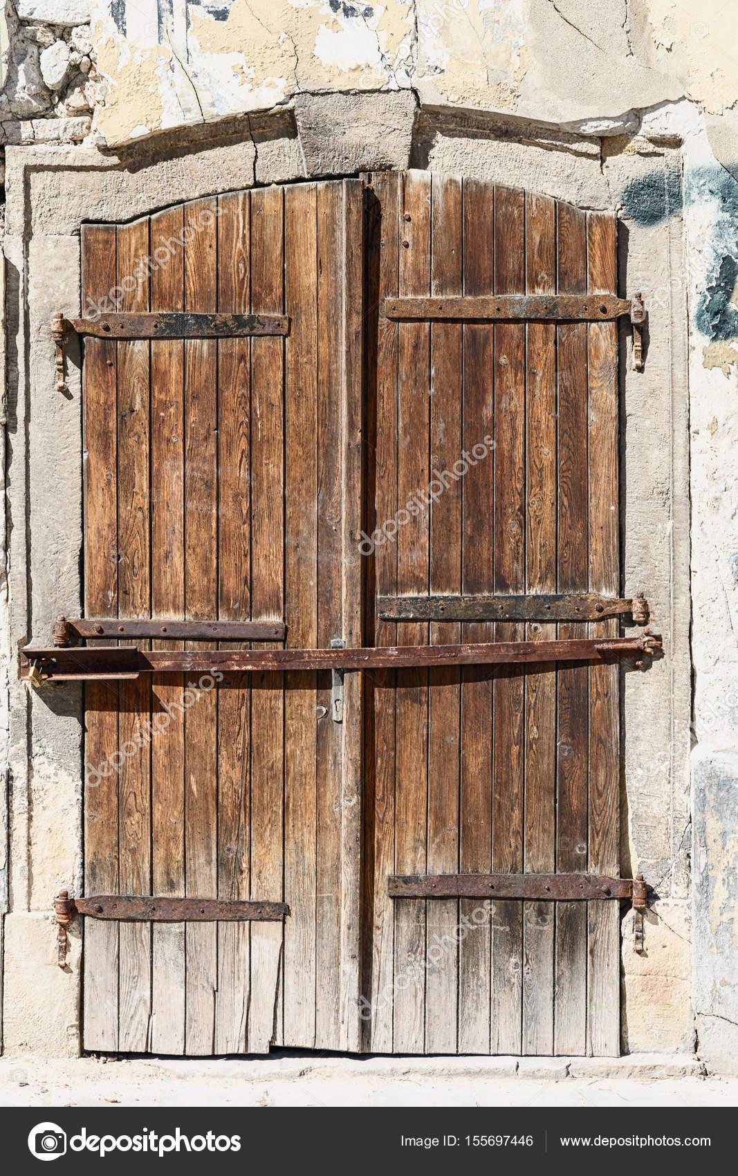 Ancienne Porte Bois Dans Une Vieille Closeup Maison Pierre