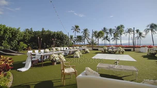 Beautiful Place With The Wedding Tables On Background Of Tropical Nature Under Blue Sky
