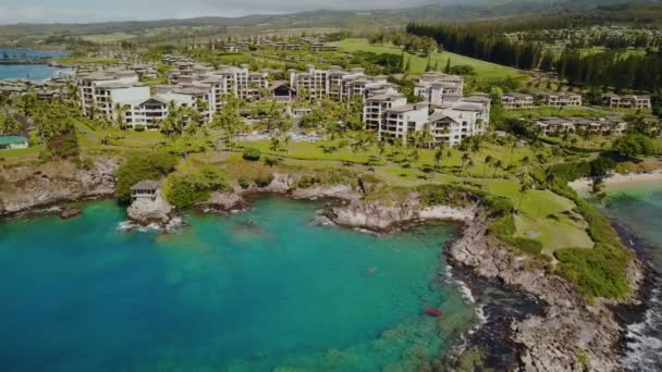 Stunning landscape of fashionable resort montage kapalua which drowned in  green luxury of plantings on island maui,hawaii the birds eye view