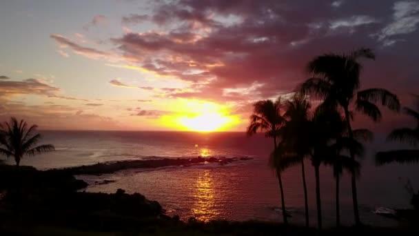 Romantické pobřeží s palmami a Tichého oceánu v západ slunce na ostrově maui, Havaj