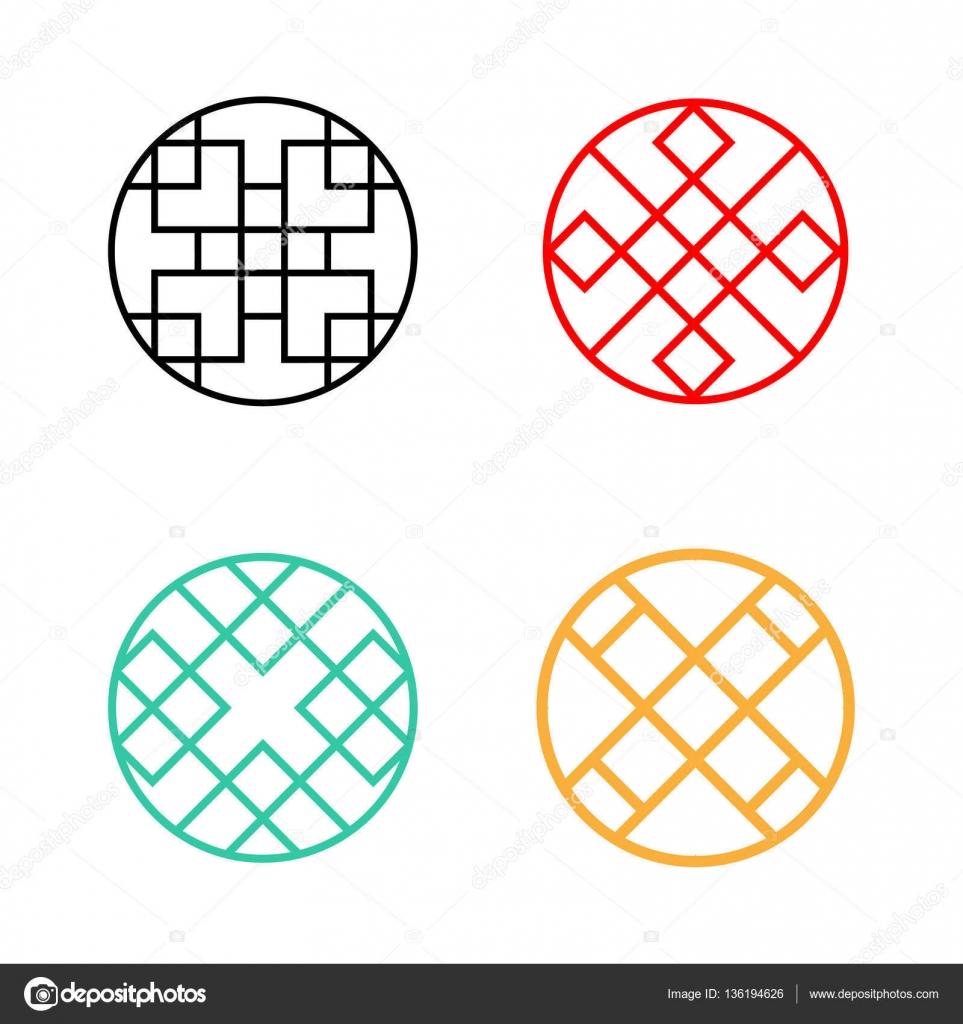 Conjunto de marco de ventana círculo patrón Coreano — Vector de ...