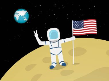 Astronaut on moon surface with US flag, vector
