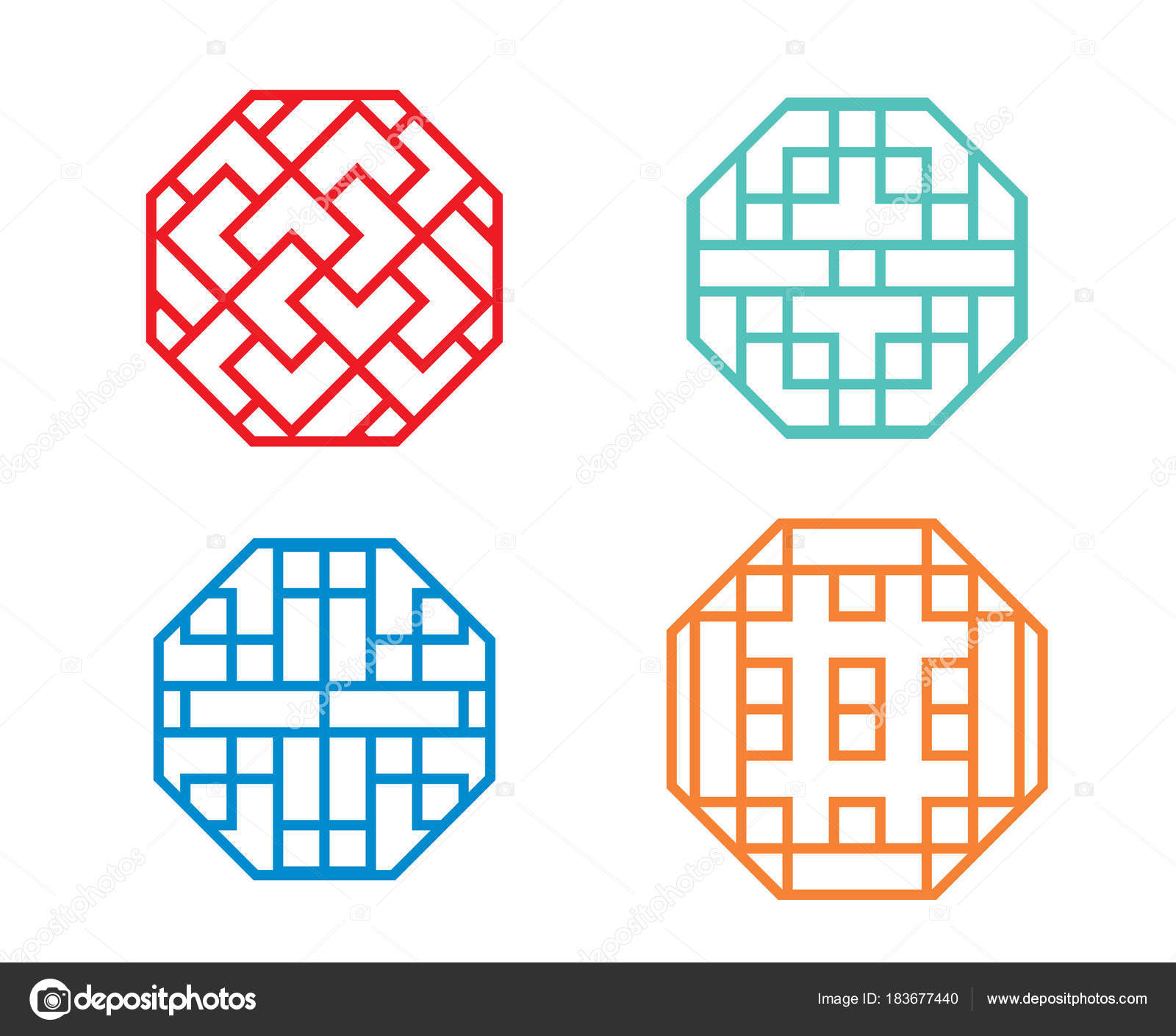 Chinese octagon window frame and symbol in vector — Stock Vector ...