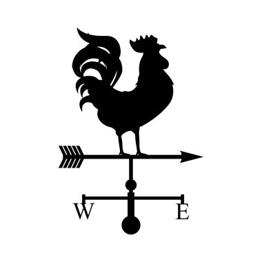Vector illustration rooster weather vane. Black silhouette rooster, cock. Weather vane symbol, icon clip art vector