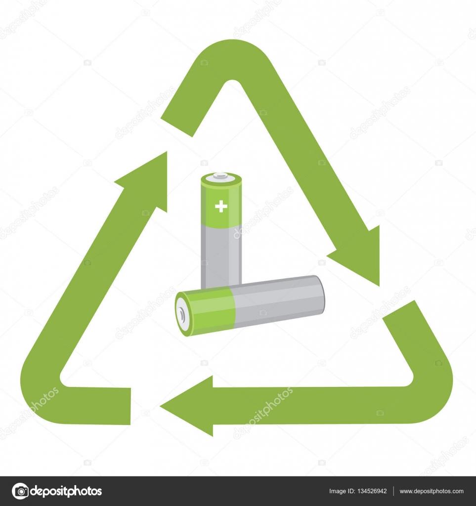 Battery With Recycling Symbol Stock Vector Viktorijareut 134526942