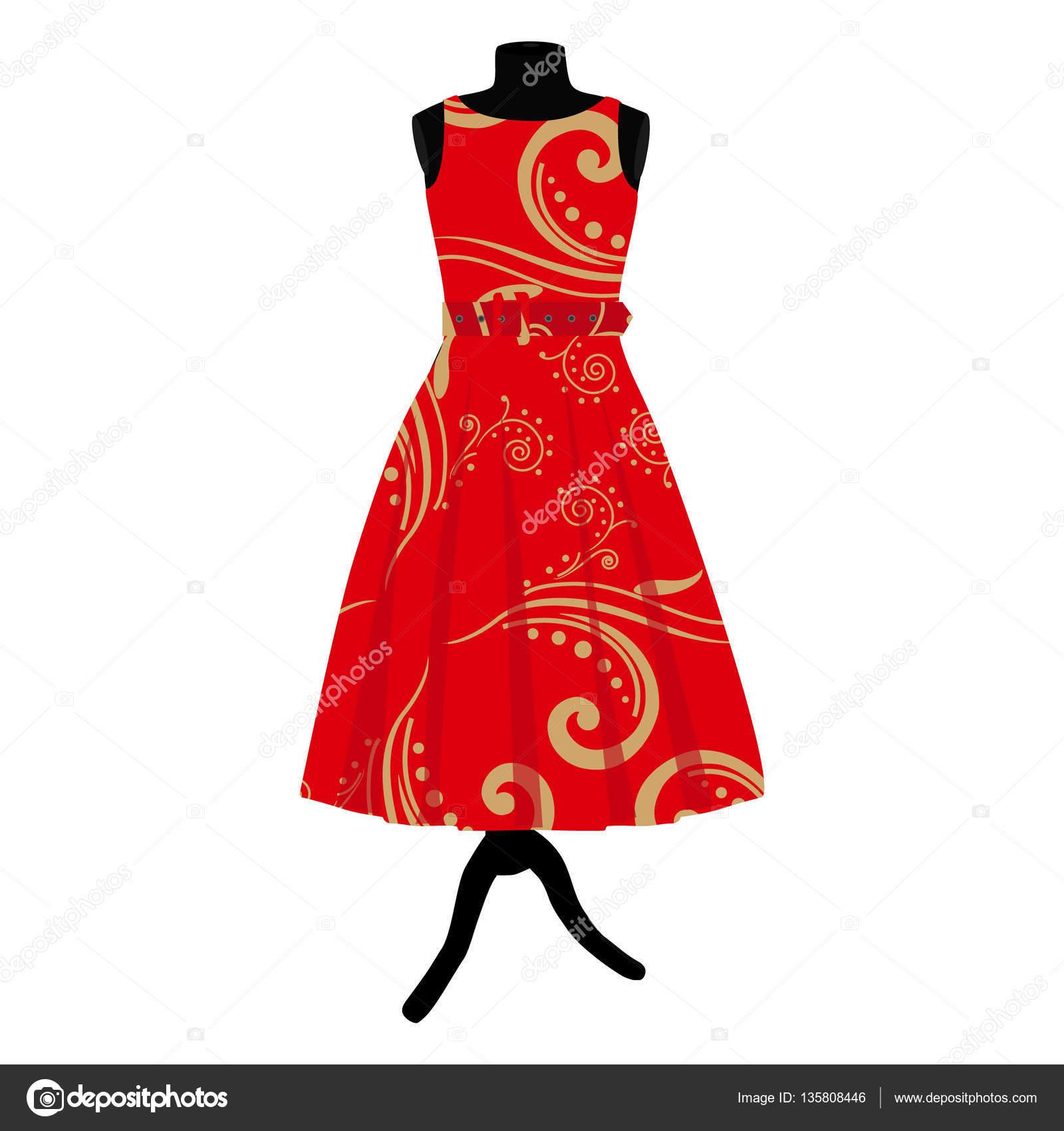 5bbf3d7a463e8d Rode jurk op etalagepop — Stockvector © viktorijareut  135808446