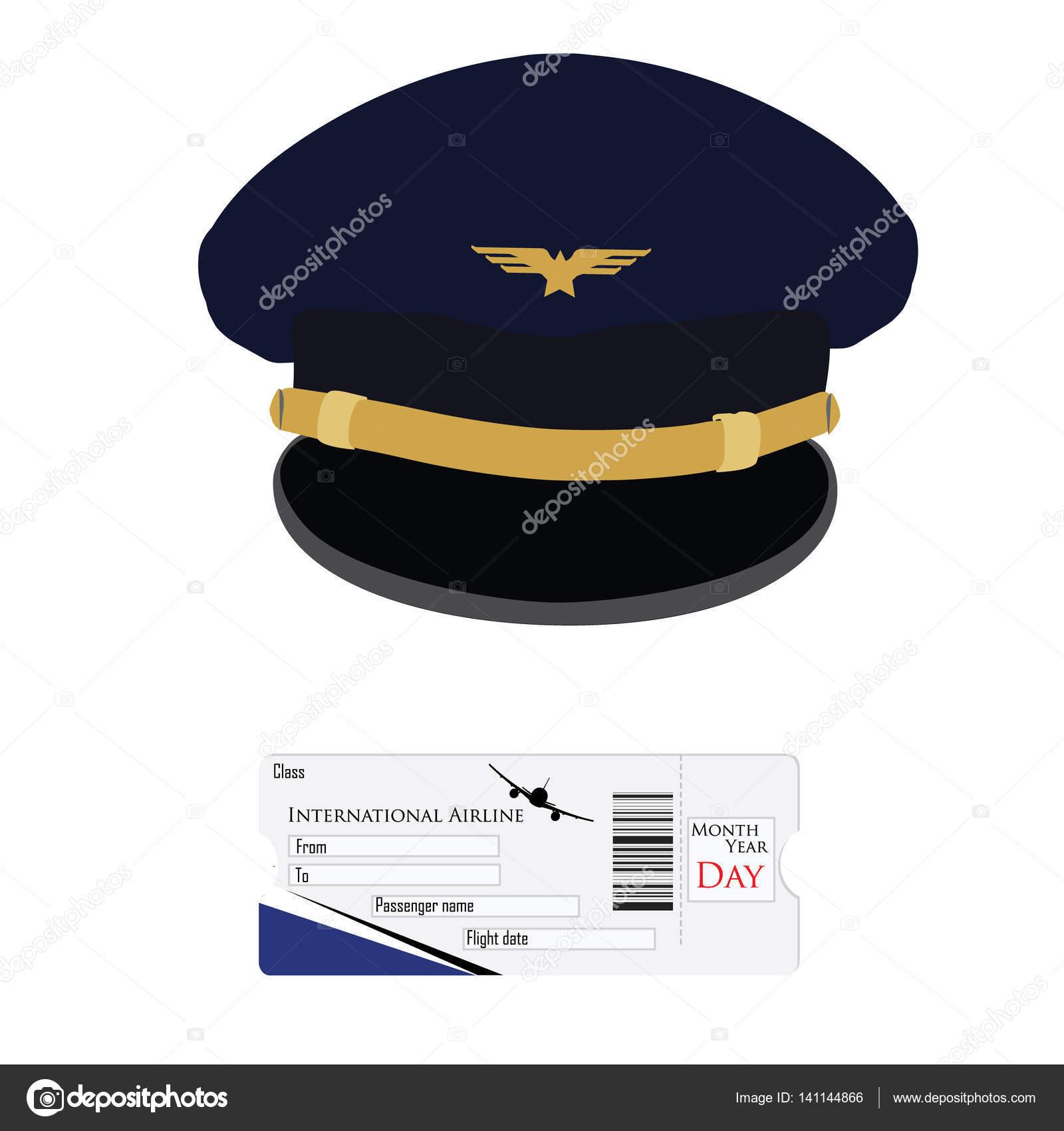 d1279800b94 Pilotní čepice a letadlo lístek — Stock Fotografie © viktorijareut ...
