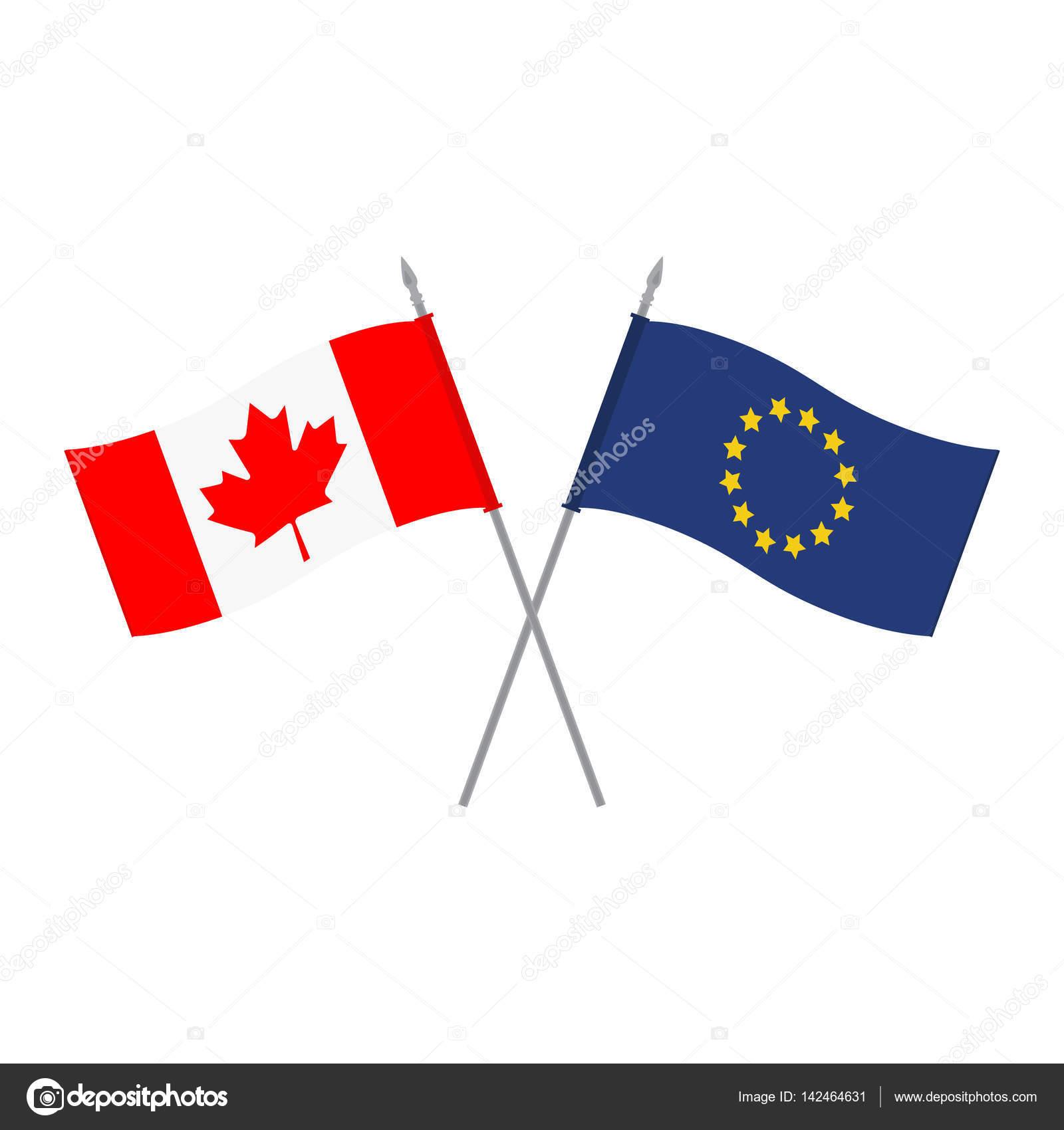 Banderas de EU y Canadá — Vector de stock © viktorijareut #142464631