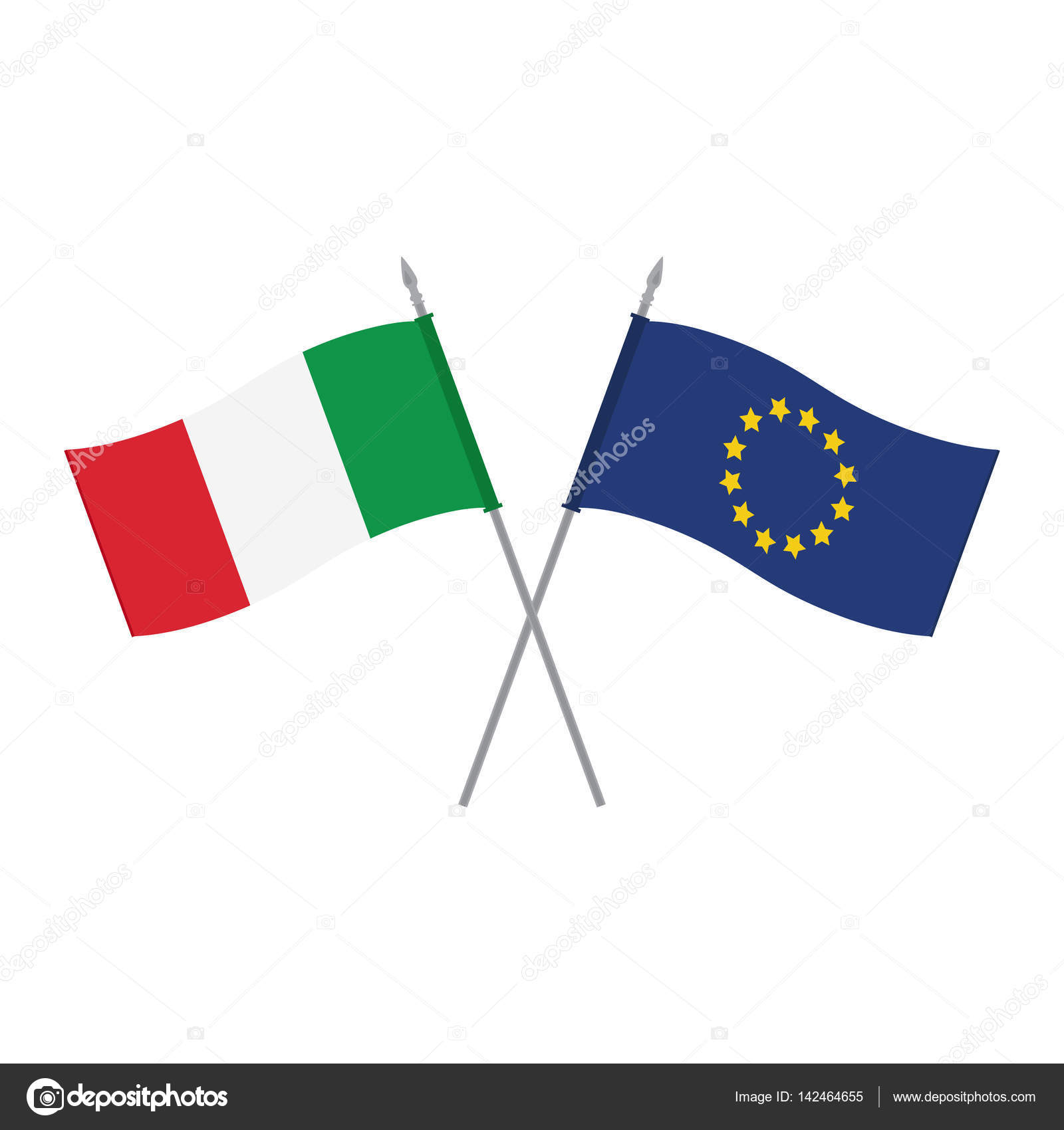 Eu And Italy Flags Stock Vector Viktorijareut 142464655