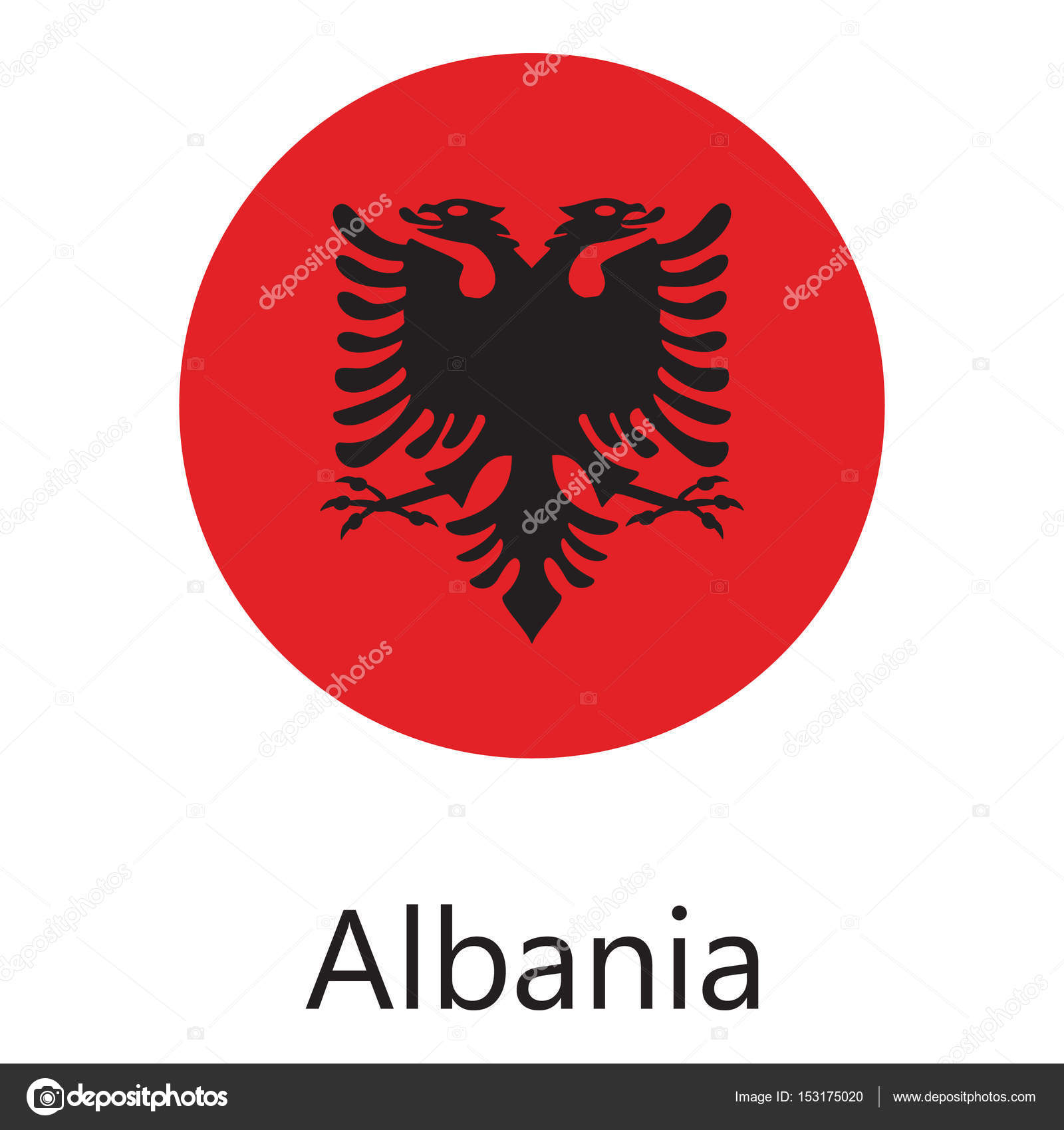 Albania Flag Round Stock Photo Viktorijareut - Albania flag