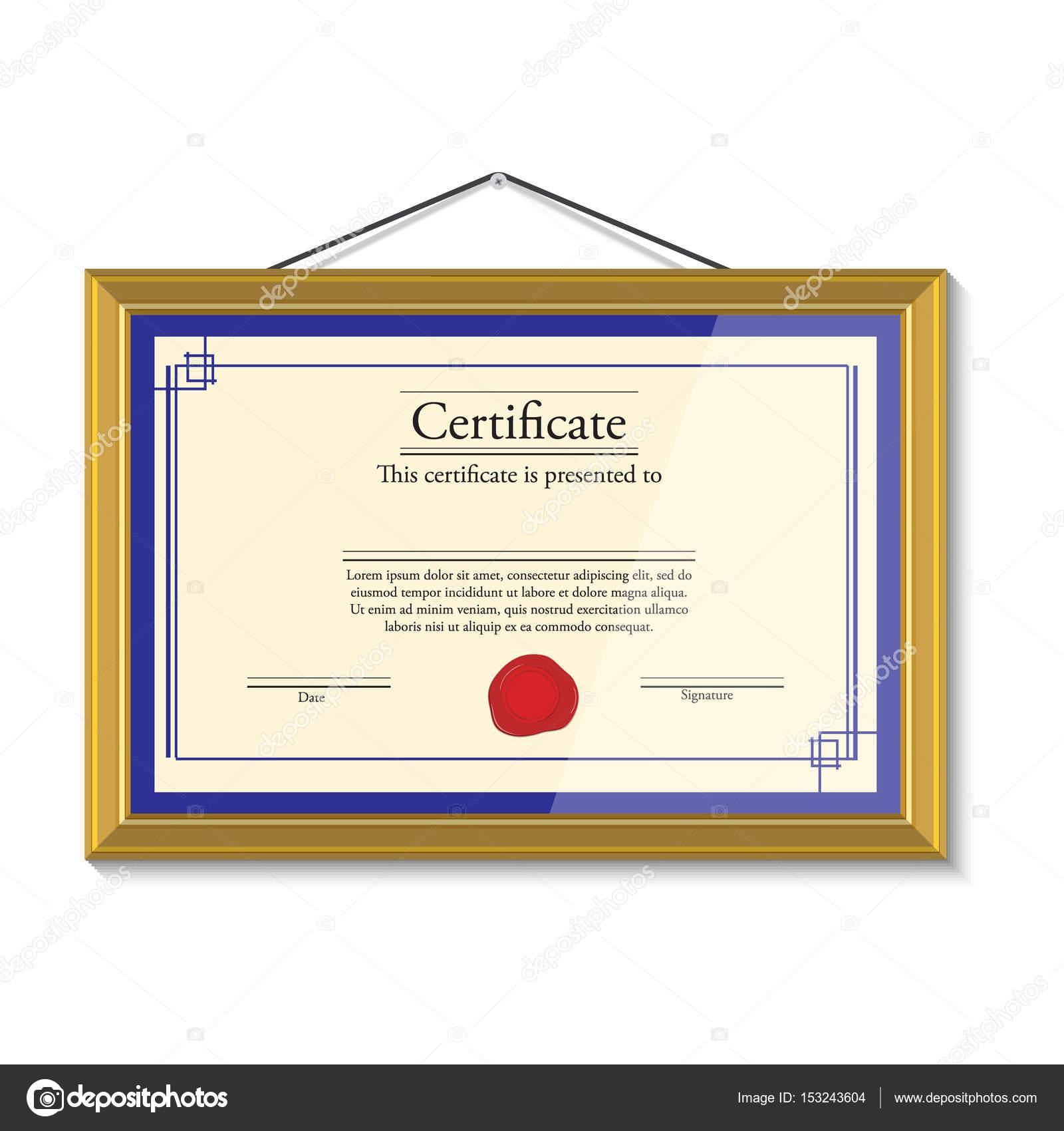 Zertifikat Im Goldenen Rahmen Stockfoto Viktorijareut 153243604