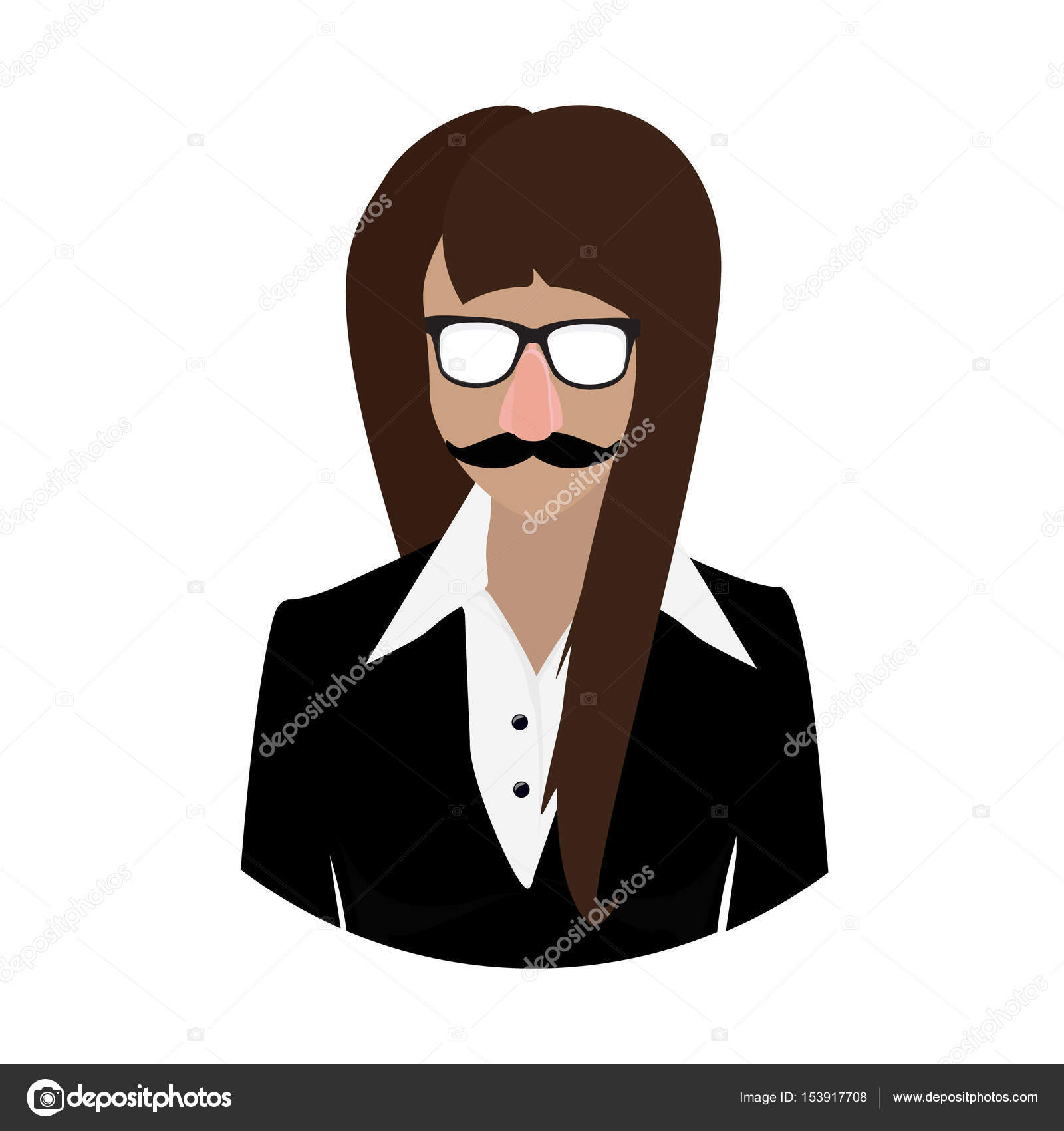 ec11c6eef601 Woman in fake nose and glasses humor mask raster illustration. Disguise  glasses