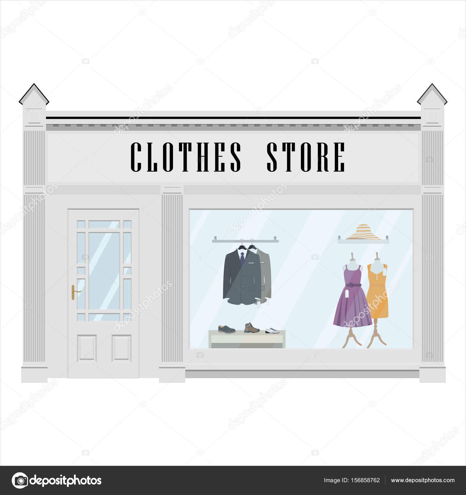 Vector Illustration Cartoon Dress Shop Icon Street Local Boutique Building European Clothes Store Front Facade Fashion Exterior
