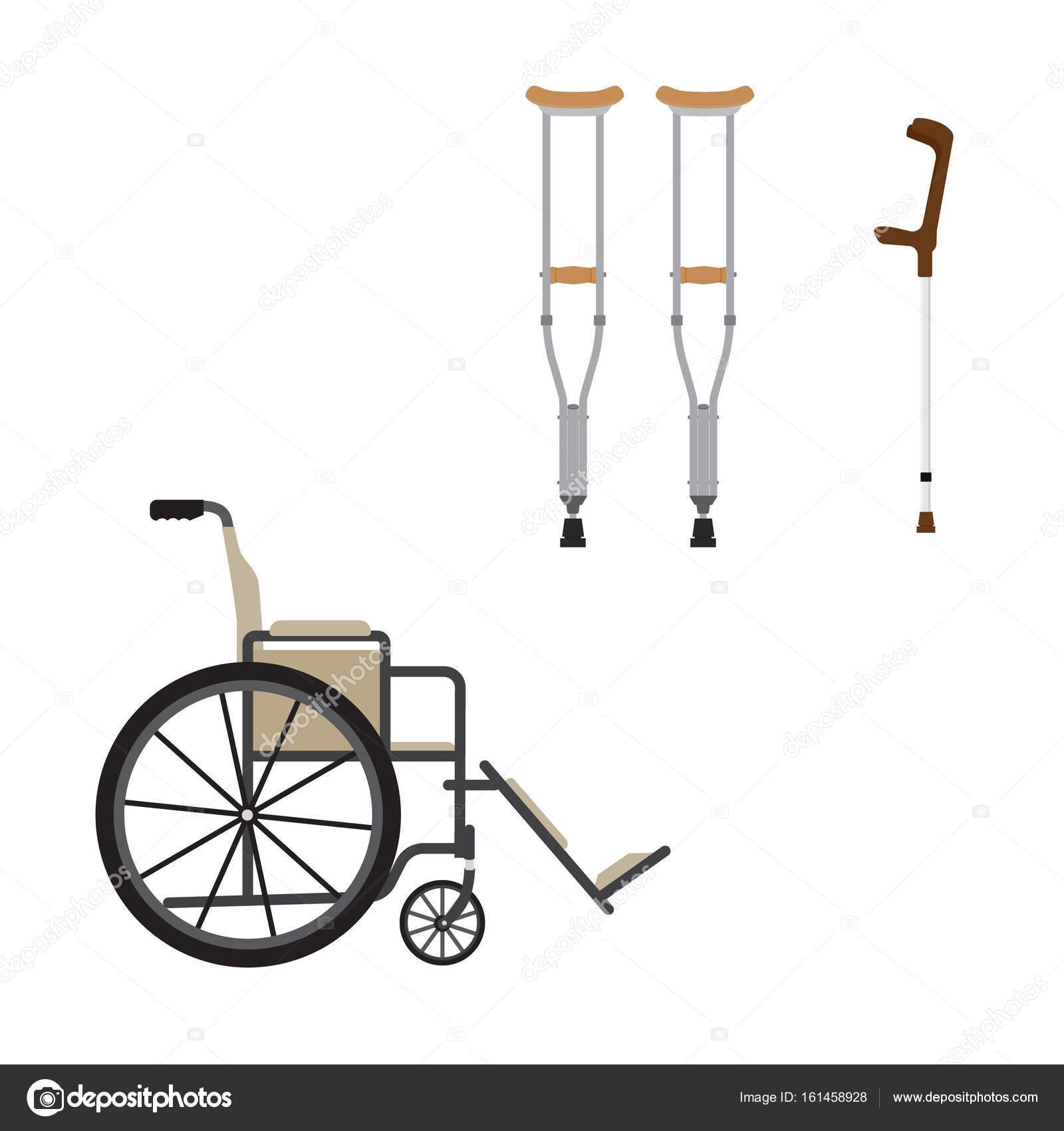 инвалидной коляске и Chrutches стоковое фото