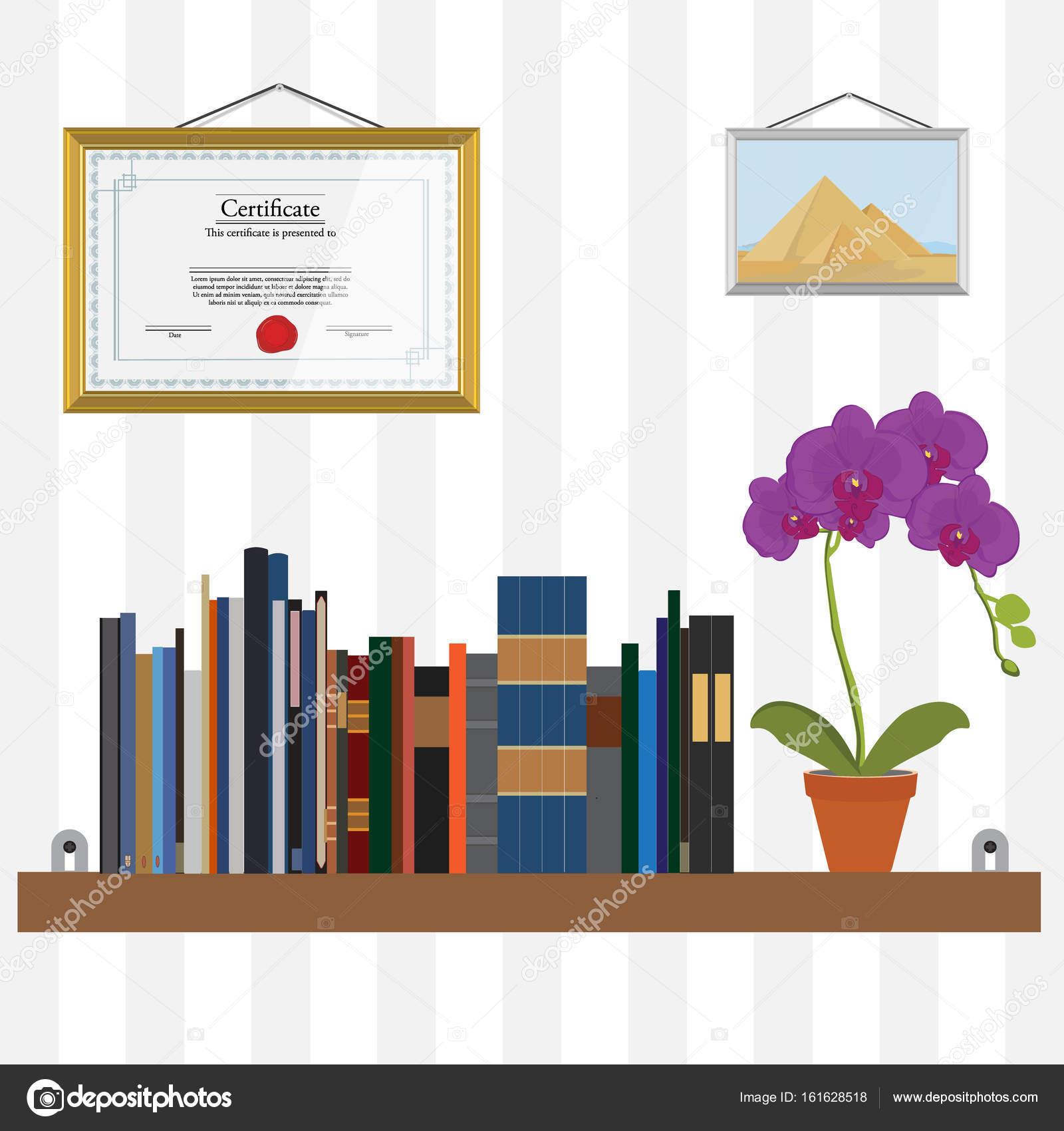 Bookshelf Raster Flower Stock Photo