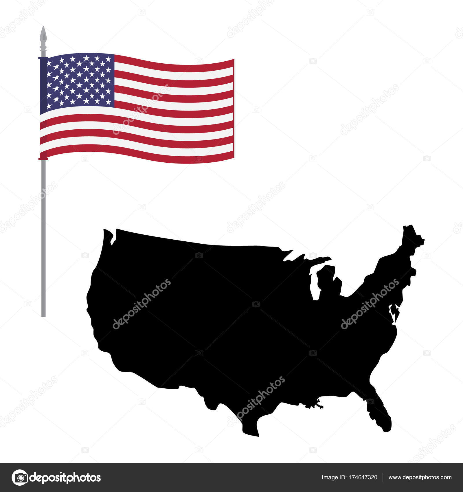 USA map and flag icon — Stock Photo © viktorijareut #174647320