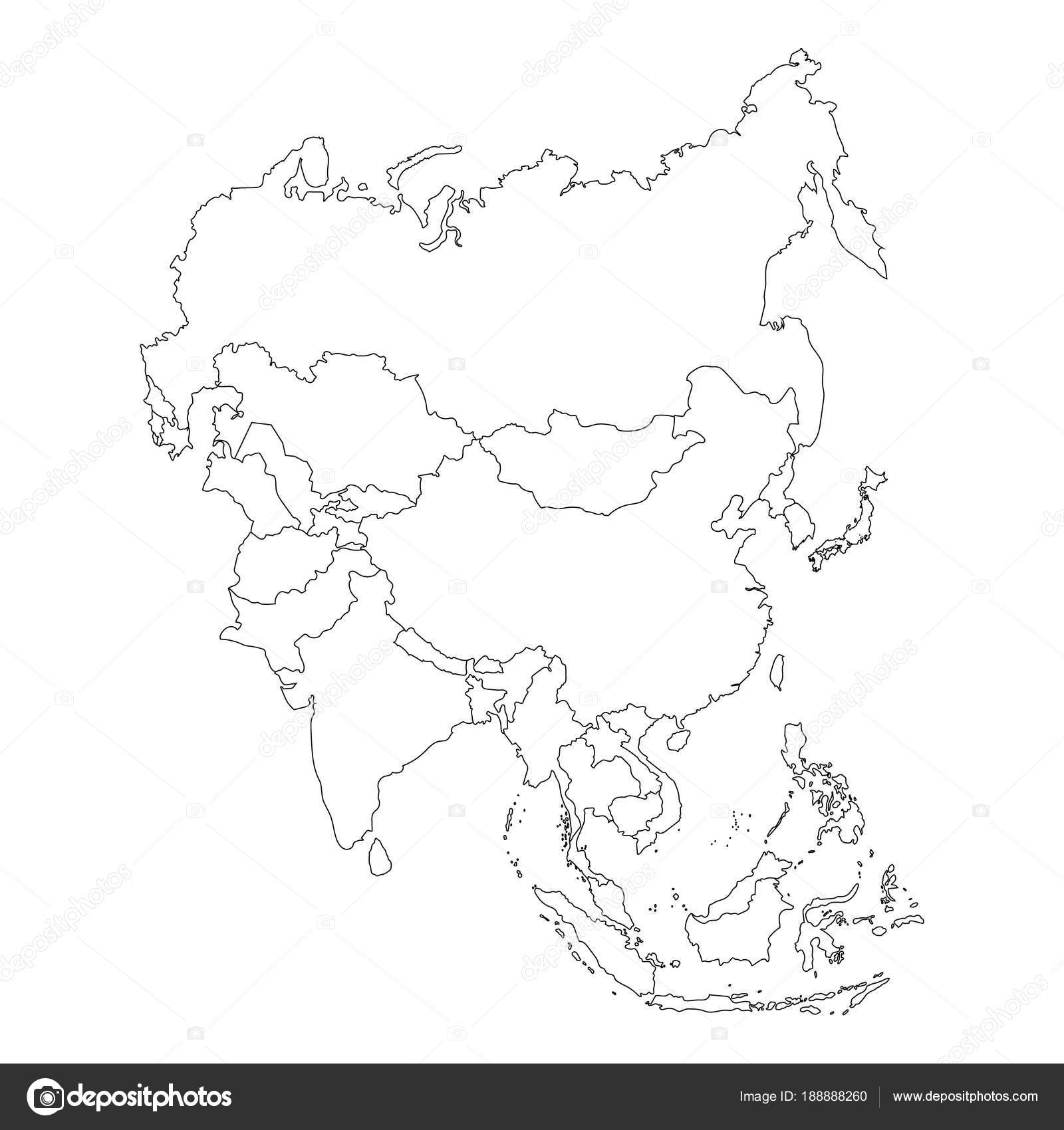 Outline Map Of Asia Continent.Asia Map Raster Stock Photo C Viktorijareut 188888260
