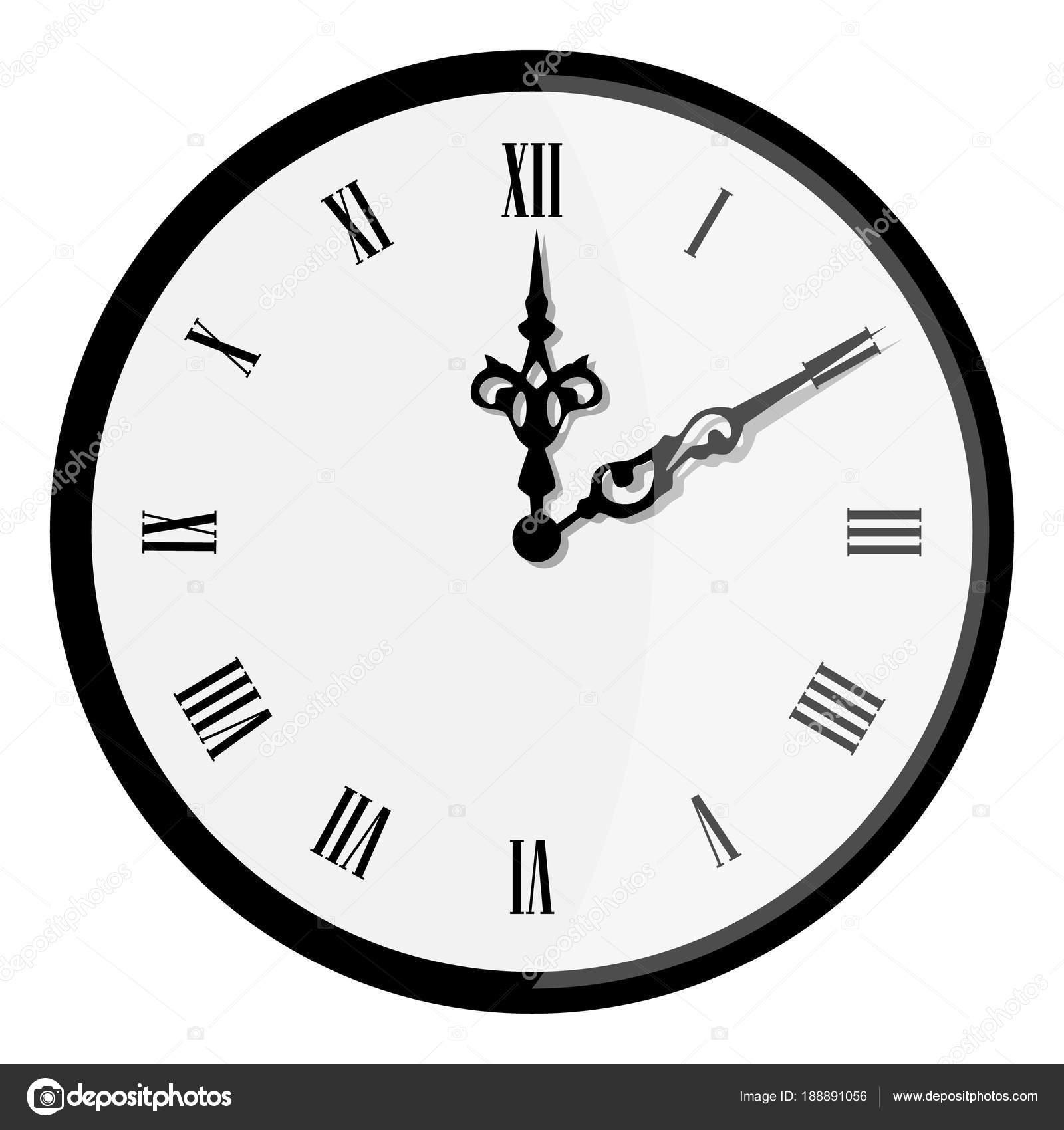 39f34e4f76 Raster ilustração elegante relógio de parede com ponteiro de horas vintage  isolado no fundo branco. Relógio parede mostra 08:00. Relógio de numeral  romano ...