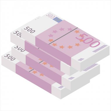 Vector packages of banknotes . Pile of cash Isometric illustration. Hundreds of euro icon